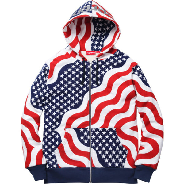 "SUPREME ""USA STARS & STRIPES"" 3M REFLECTIVE LOGO ZIP-UP HOODIE"