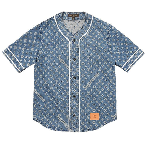 "SUPREME X LOUIS VUITTON ""DENIM"" BUTTON-UP SHORT SLEEVE SHIRT"