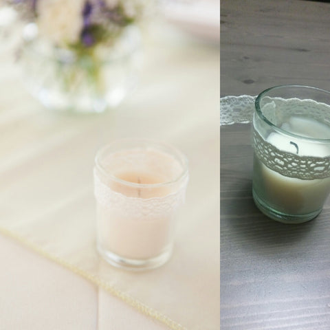 DIY lace trim votive candle