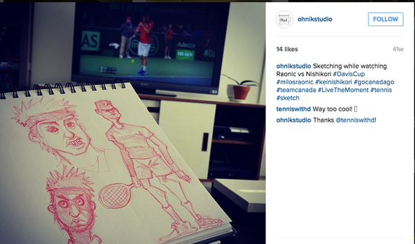 Ohnik Studio's sketch of Milos Raonic and Kei Nishikori