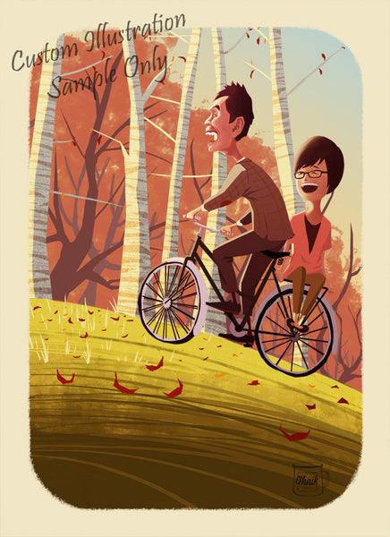 Cycling under Autumn Leaves (Custom Illustrated Save-the-date or Wedding Invitation)