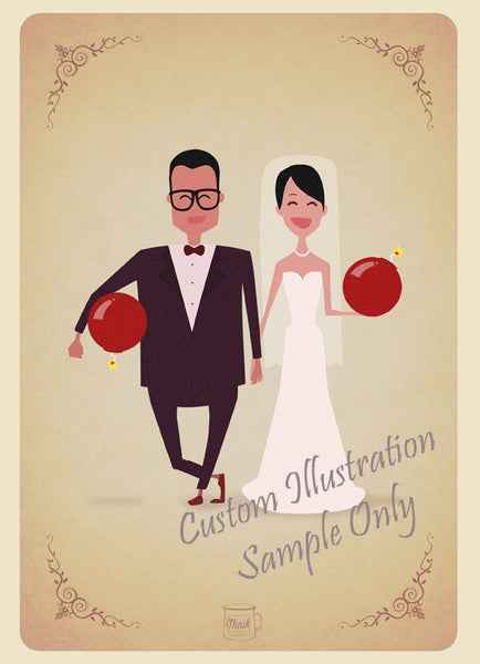 Red Bomb wedding invitation