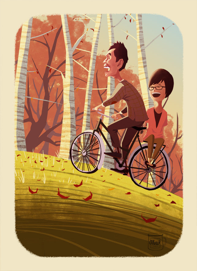 Cycling Under Autumn Leaves (Save-the-date or Wedding Invitation)
