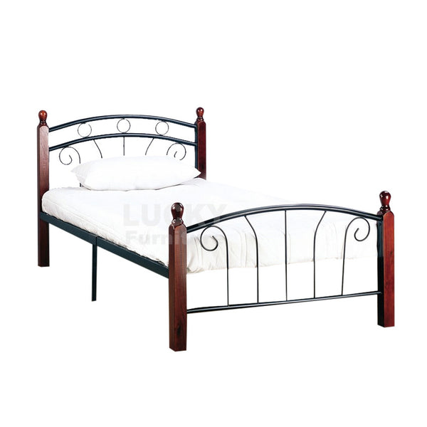 Black and Dark Cherry Post Metal Bed