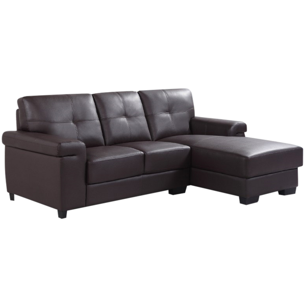 Peony Small Sectional Sofa Set-Top Leather