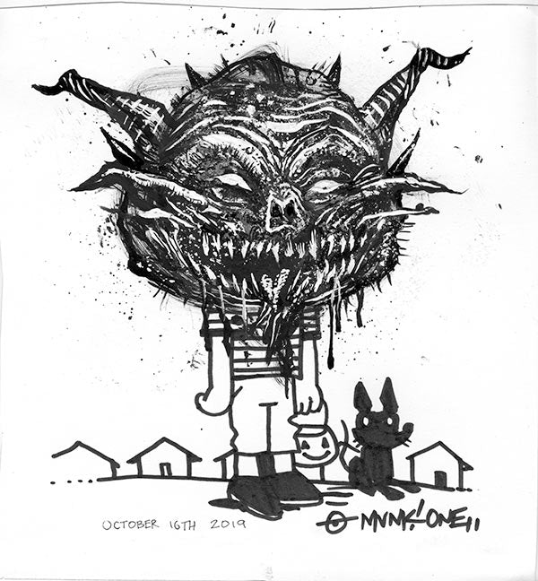 Inktober Scary Face