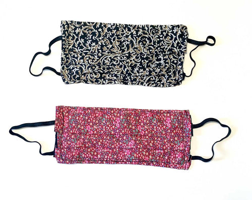 Face Masks with Pockets &  Elastic Loops - Set of 2