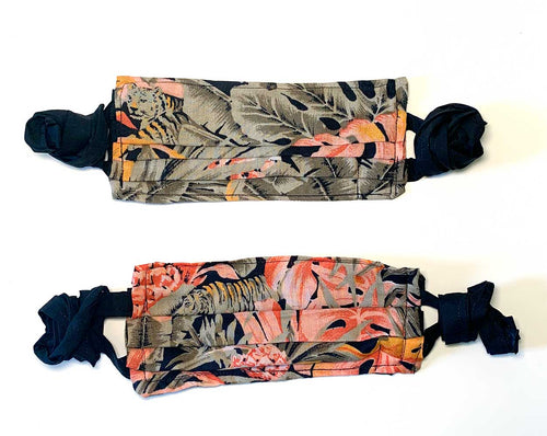 Face Masks with Pockets & Fabric Ties - Set of 2
