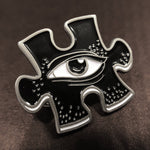 Puzzle Eye Icon Pin - Silver