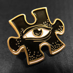 Puzzle Eye Icon Pin - Antique Gold