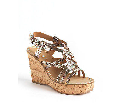 GUESS Yarkena Wedge Gold Sandals Size 6