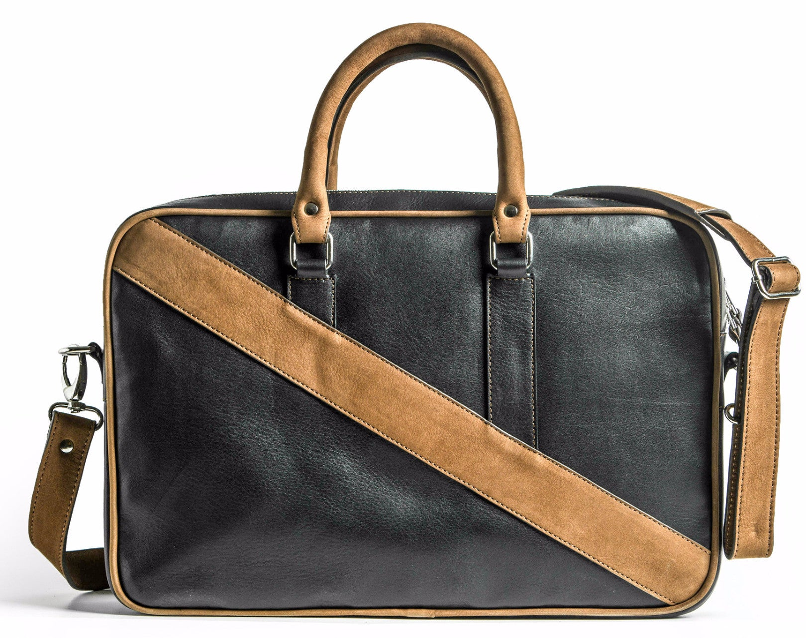 A back view of KANZEK's laptop leather briefcase for men in black and brown with full grain calf leather