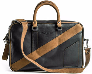 A front view of KANZEK's laptop leather briefcase for men in black and brown with full grain calf leather
