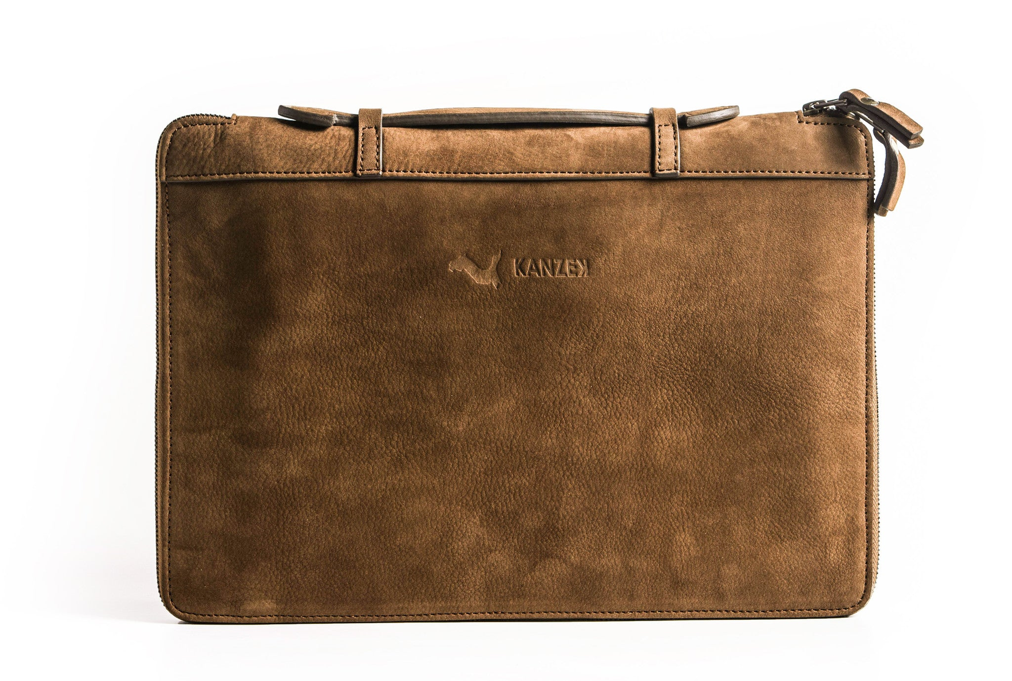 A front view of KANZEK's unisex leather portfolio in vintage brown with full grain calf leather