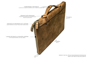 Brown Leather Laptop Folio - The Slim Safe Portfolio