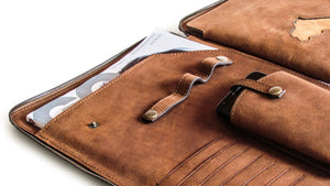 The Slim Safe Portfolio has a pocket for your smartphone, a penholder, business cards pockets and a documents' compartment