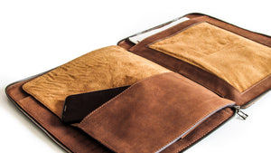 KANZEK's unisex leather portfolio is highly functional with two compartments and many pockets and a pen and phone holder
