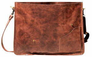 "18"" Leather Laptop Messenger Bag in Distressed Vintage Brown - The Wild Satchel"