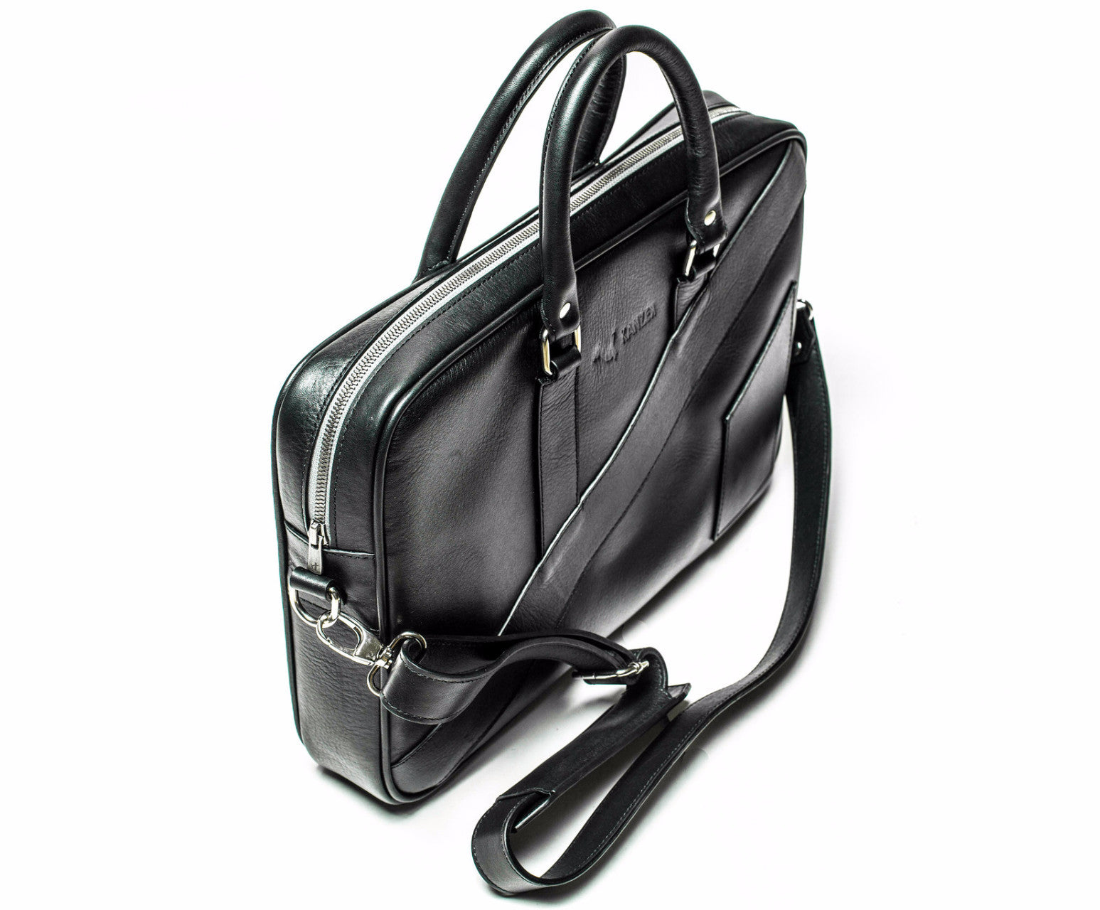 "Black 15.6"" Leather Laptop Bag - The Dollar Gent Briefcase"