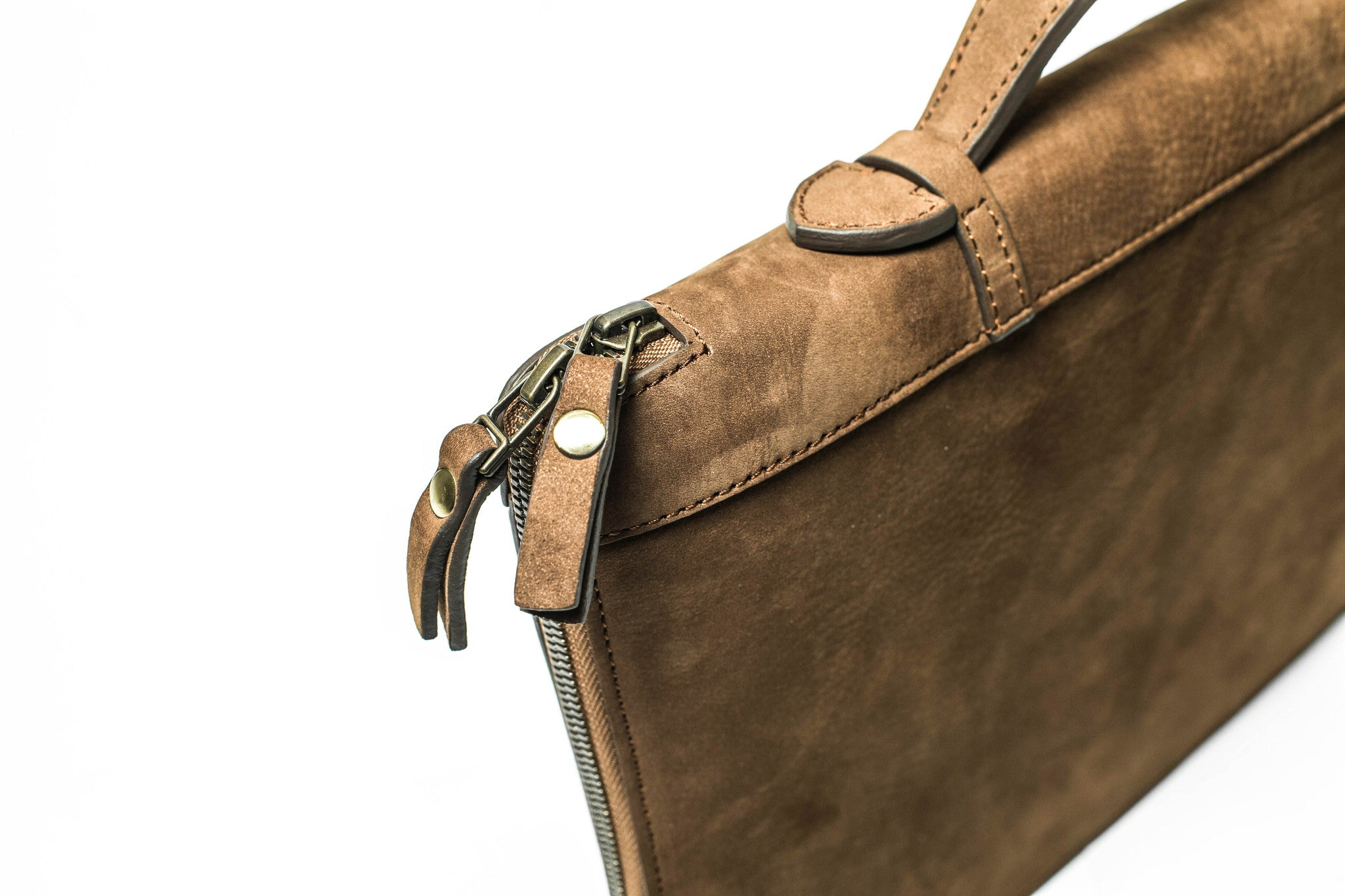 KANZEK's brown unisex leather portfolio uses a high quality full grain calf leather with a unique vintage patina.