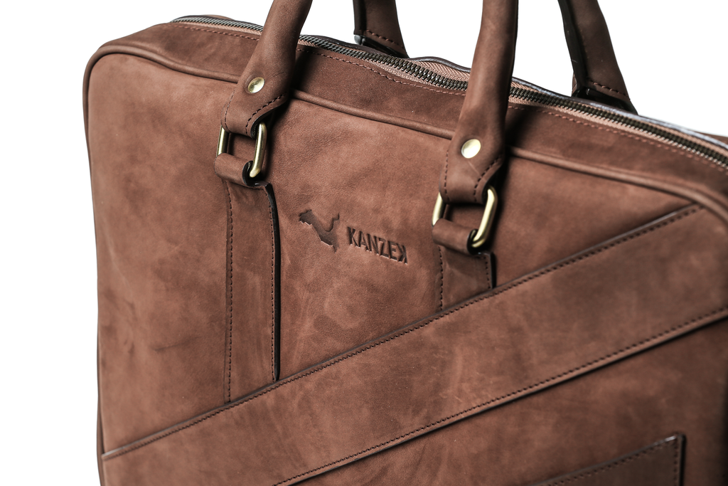 "Brown 15.6"" Leather Laptop Bag - The Dollar Gent Briefcase"