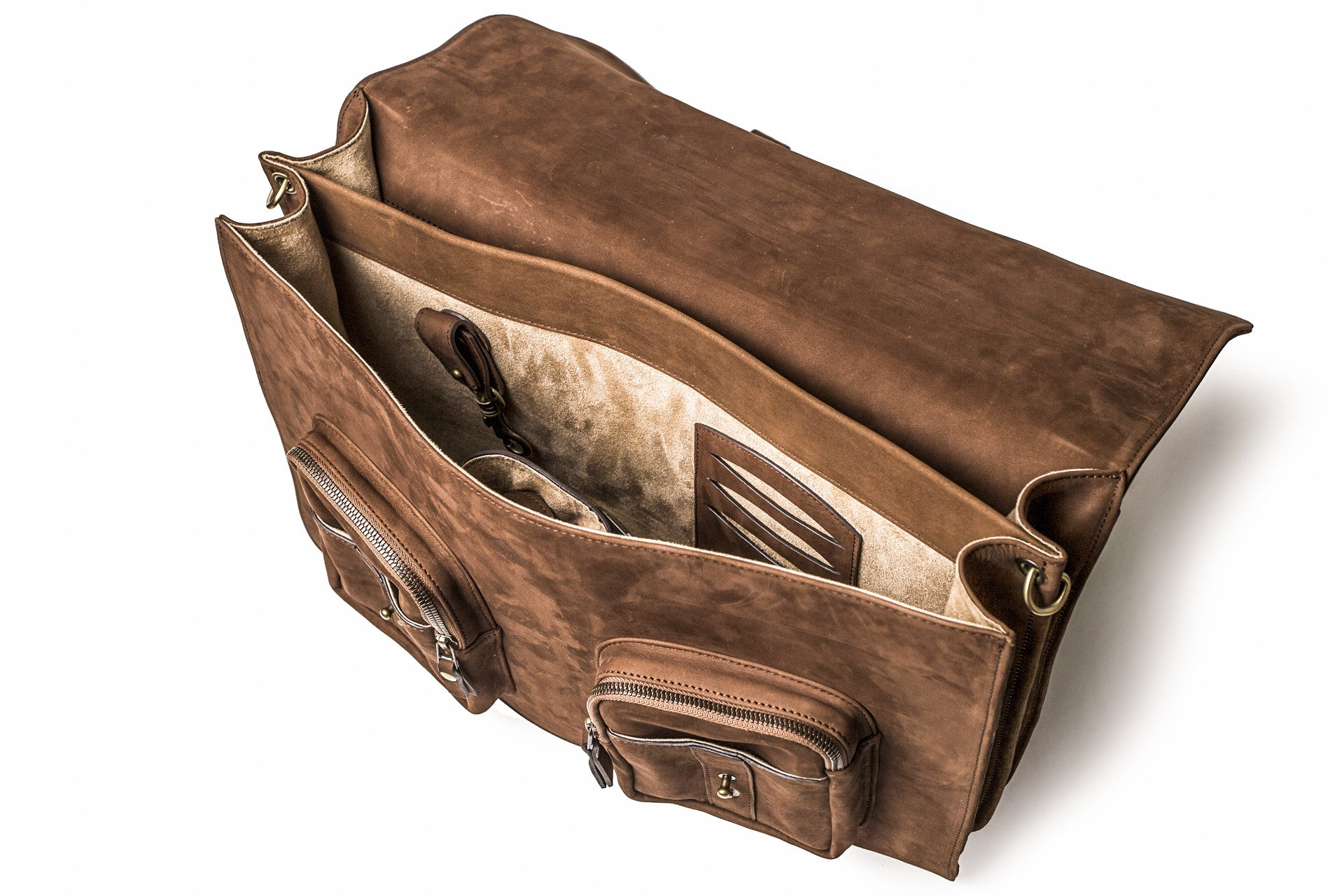 KANZEK's leather laptop satchel is a highly functional messenger bag with two exterior zippered pockets and two interior compartments