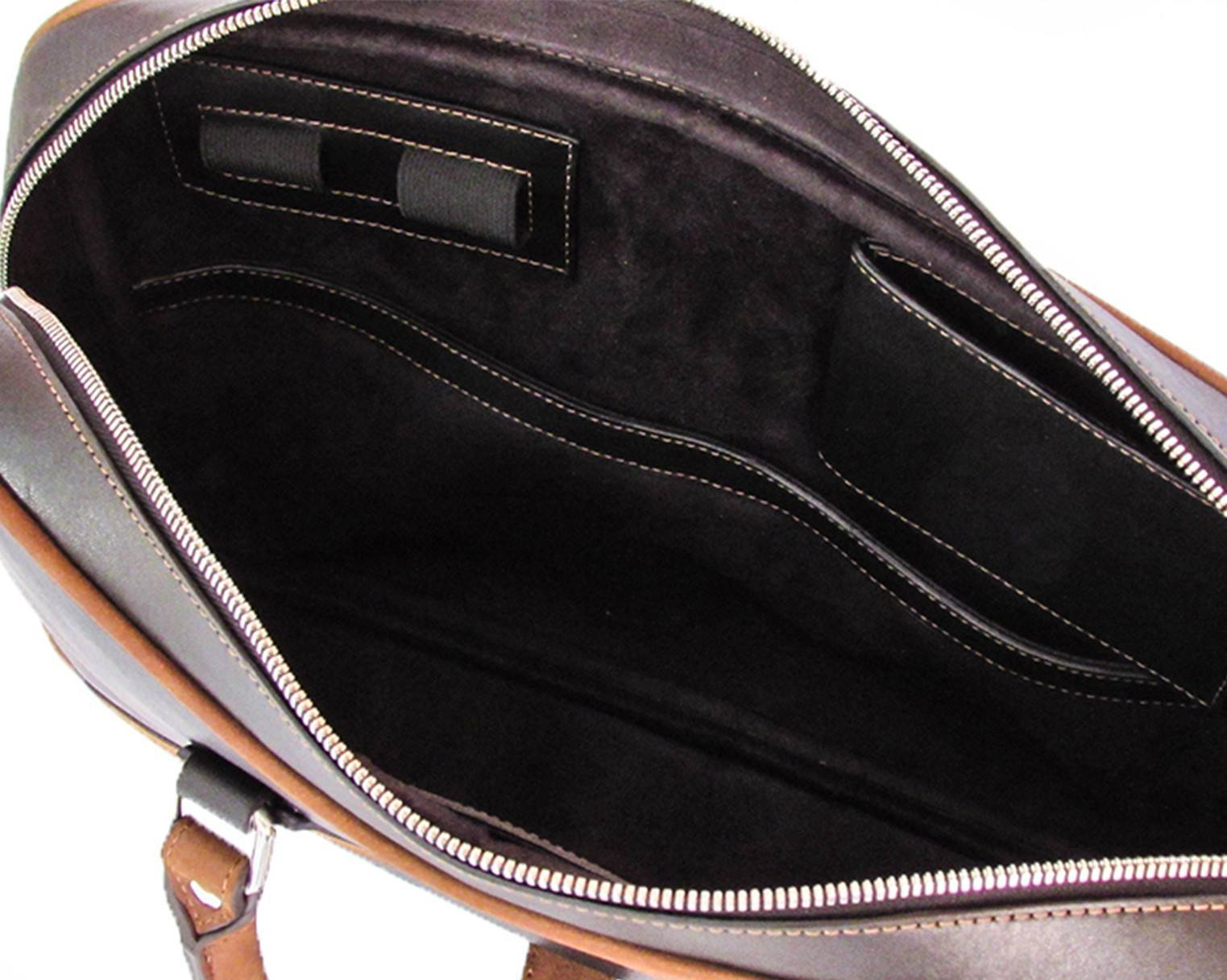 "KANZEK's laptop leather briefcase interior is made of a suede-like lining and fits a 15"" laptop"