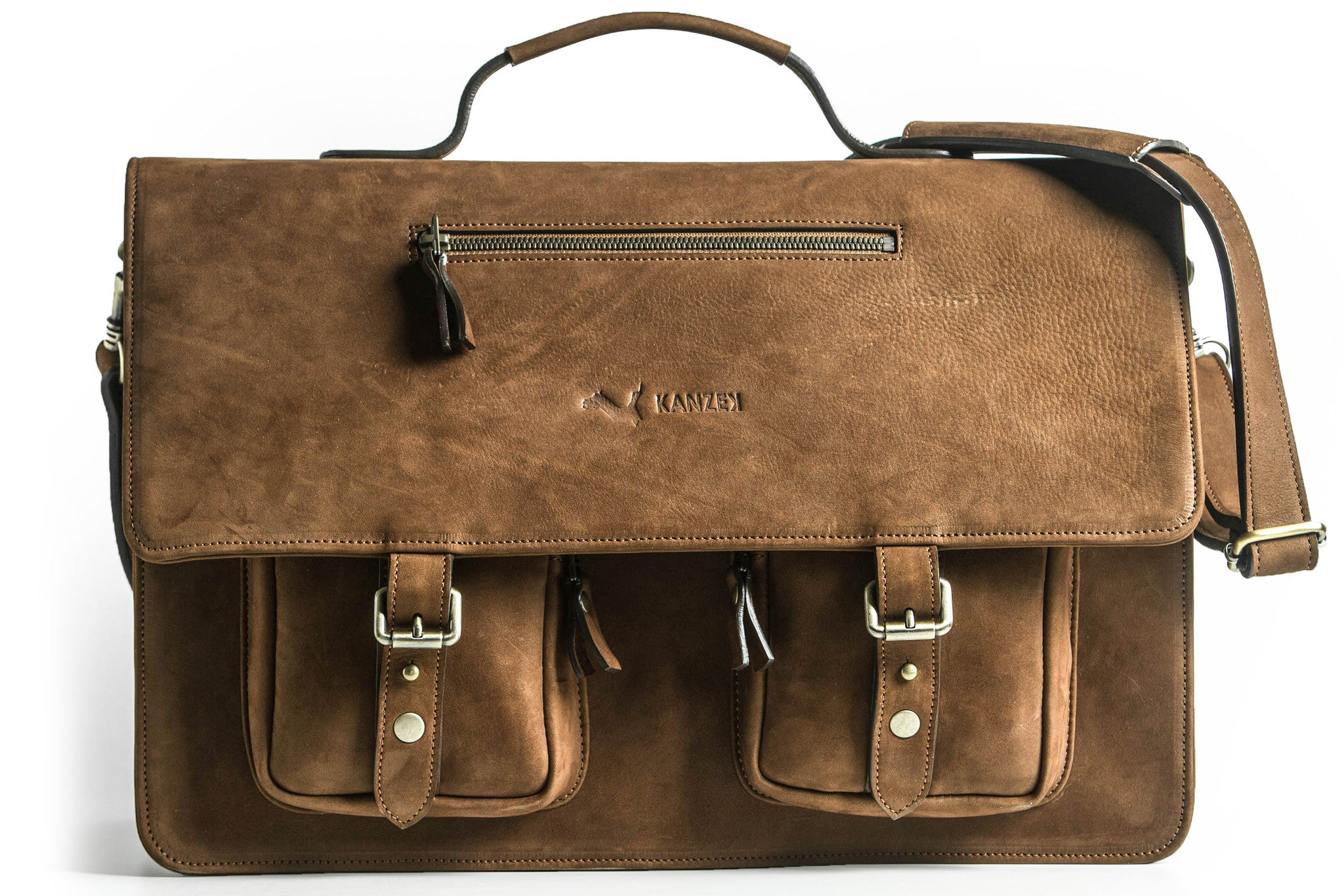 A front view of KANZEK's laptop leather satchel or messenger bag for men in vintage brown with full grain calf leather
