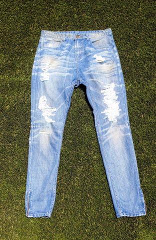 Aged Indigo Denim ( Distressed)