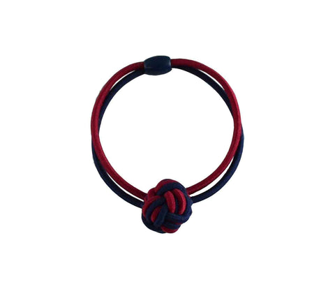 #02080 Elastic Knots-Navy/Burgundy pr.