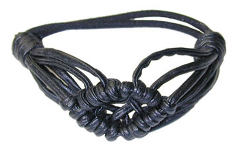 Woven Leather Pony Elastics - Black