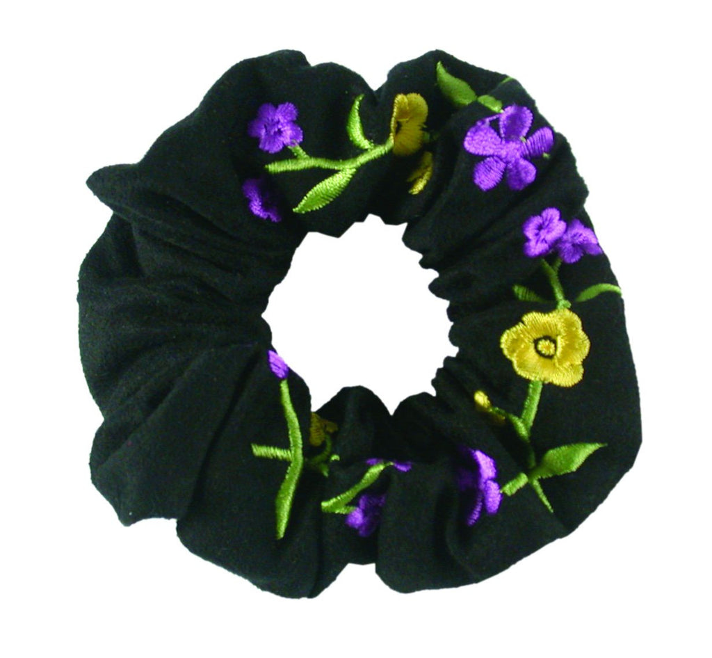 Embroidered Flower Scrunchie - Black