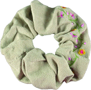 Embroidered Flower Scrunchie-Beige