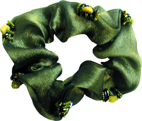 Scrunchie Beaded Organza - Green / Gold / Navy