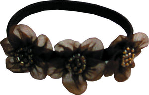 Bead Silk Flowers Flat Bands - Brown