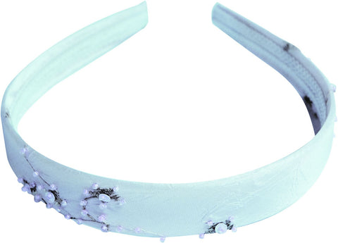 Taffita Headband w/Beads Embroidery - Light Blue