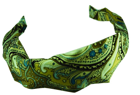 Scarf C Headband - Tan/Blue Paisley