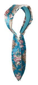 "Scarf ""C"" Headband with Sash - Blue Multi - flower"