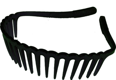 Comb slip free Headband w/ Rubberized-Black