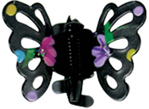 Painted Flower Butterfly Clawettes - Black