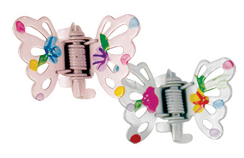 Painted Flower Butterfly Clawettes - White/Pink