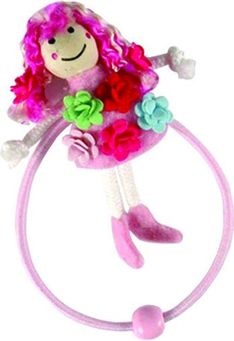 Flowers Dress Doll Pony Elastics - Pink