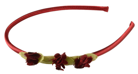 3Thin Satin 3 Flowers Headband - Burgundy