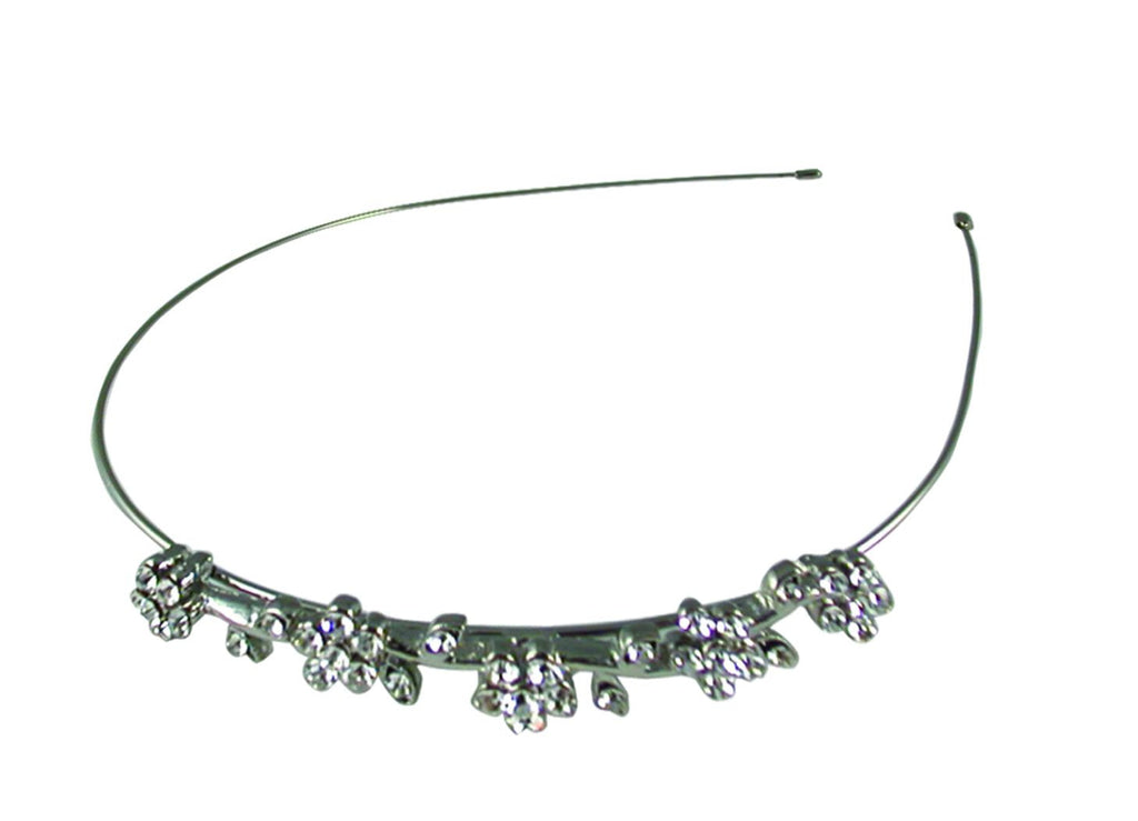 Wire Headband Crystal Flowers - Silver/Clear