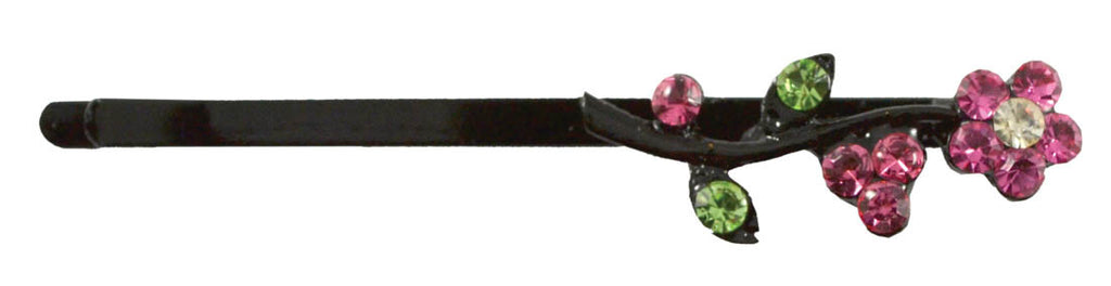 Flower Leaves Gem Bob Pin-Pink/Green