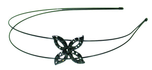 Crystal Flower Double Wire Headband-Black