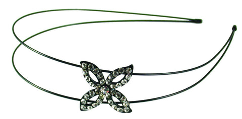 Crystal Flower Double Wire Headband-Clear