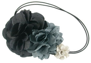 Silk Flower Thin Double Headband-Blk/Gray
