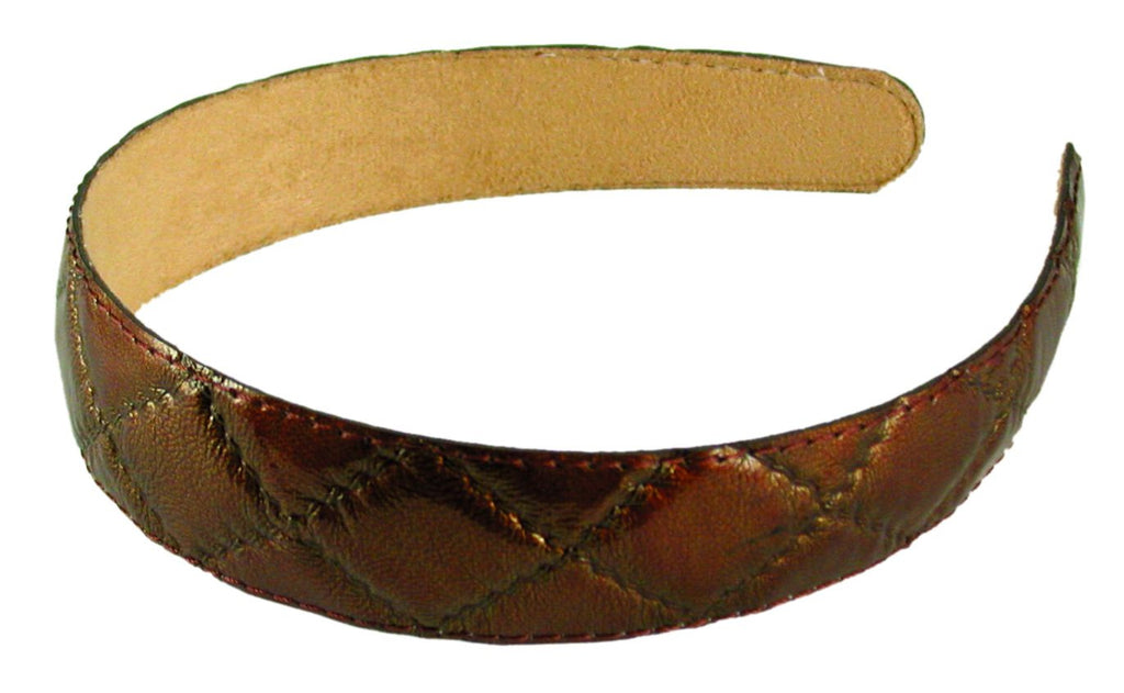 Quilted Patent Headband-Dark Bronze