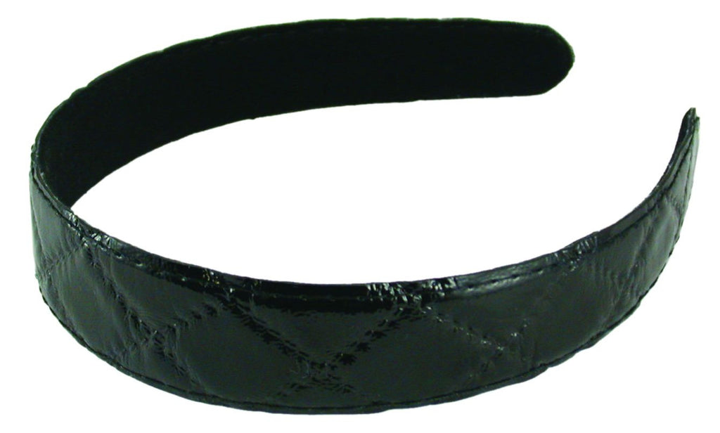 Quilted Patent Headband-Black